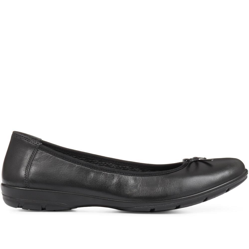 Pavers Damen Leder Ballerinas mit Schleife Schuhe Smart Freizeit Casual Komfort